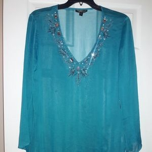 Other - NWOT Jeweled Turquoise Cover up or Tunic